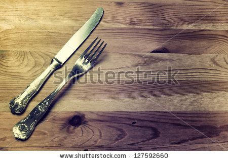 stock photo : Old silver cutlery on wooden backgro…