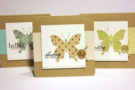butterfly card set with kissing technique: Beautiful Butterflies, Butterfly Cards, Colored Kissing, Craft Cards, Papertrey Ink, 3X3 Cards, Card Ideas, Card Inspiration