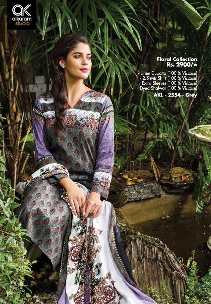 AKL 2554 - Grey Rs. 2900/- Linen Dupatta (100 % Viscose) 2.5 Mtr Shirt (100 % Viscose) Extra Sleeves (100 % Viscose) Dyed Shalwar (100 % Viscose)  www.alkaramstudio.com