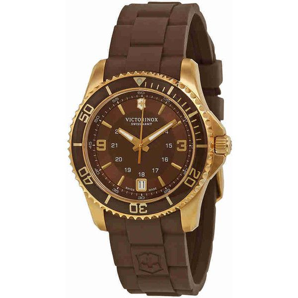 Victorinox Swiss Army Maverick GS Brown Dial Brown Rubber Ladies Watch ($299) ❤ liked on Polyvore featuring jewelry, watches, brown watches, bezel jewelry, bezel watches, military style watches and water resistant watches