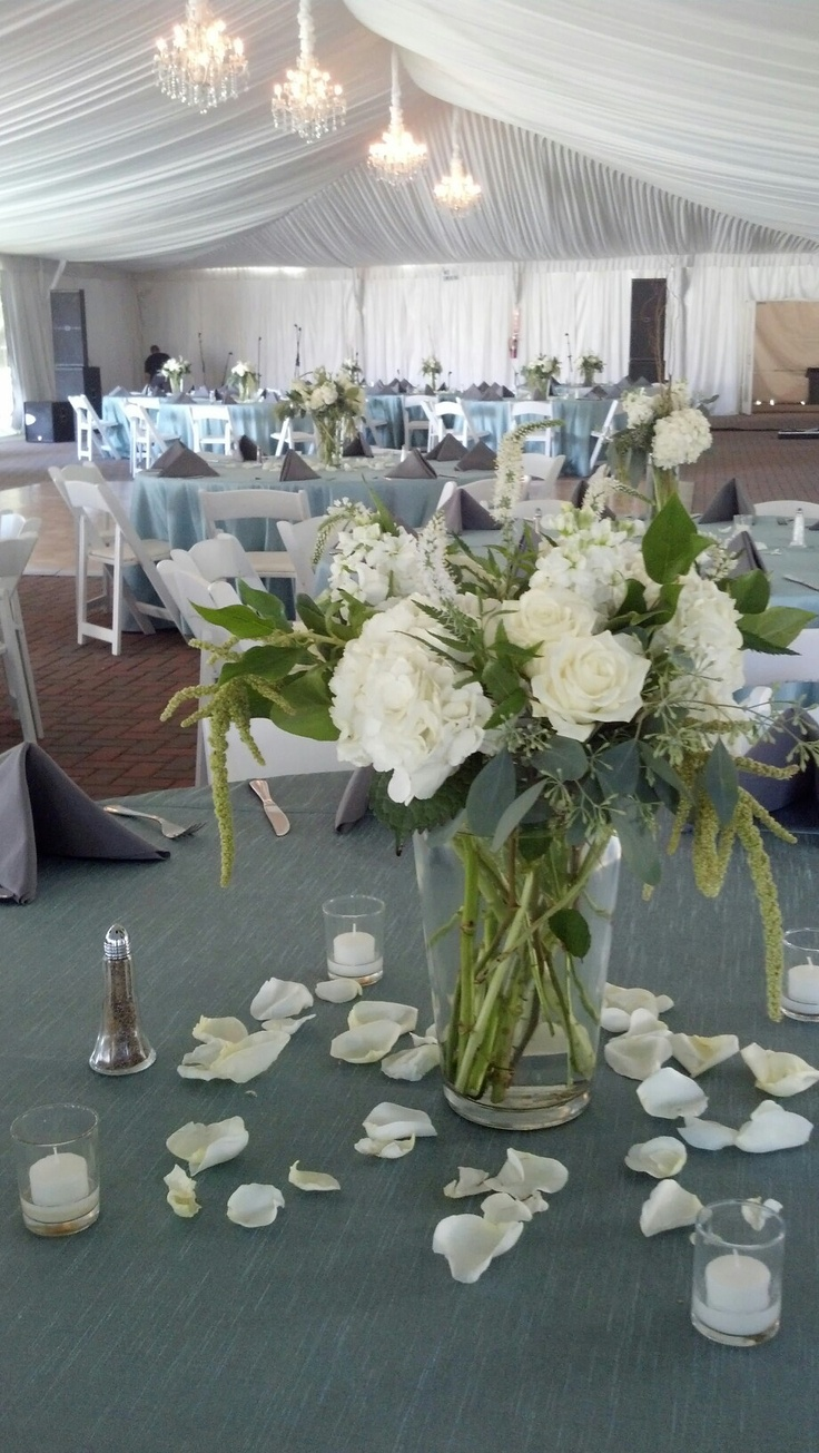 At our Wedding reception. EV Floral did a great job with our centerpieces.