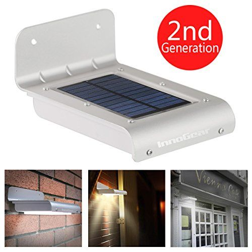 innogear 16 led super bight waterproof solar powered motion sensor outdoor garden patio path wall mount gutter fence light security lamp light as shown