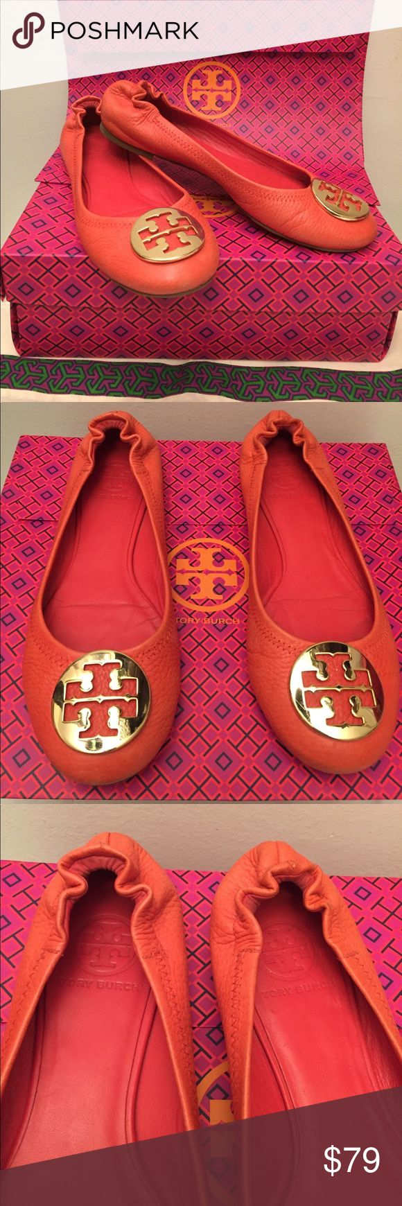 Authentic Tory Burch Reva Flats Used and in good condition. Very fashionable and comfortable. Gold Tory Burch logo with a beautiful orangish/ coral color. Authentic leather, some wear on the back of the shoes and some scratches/wear overall (refer to pictures). Comes with Tory Burch dust bag and gift bag (no box). Tory Burch Shoes Flats & Loafers