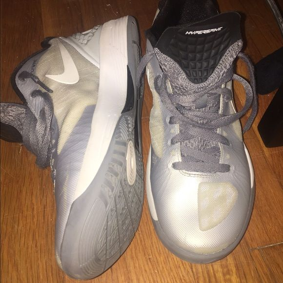 Nike Hyperspike Volley-Zoom Volleyball Shoes Durable Nike Volleyball shoes! Silver, in great condition, almost spotless. Look brand new once tied on and ready to play. (I no longer wear them because they no longer fit me) Nike Shoes Athletic Shoes