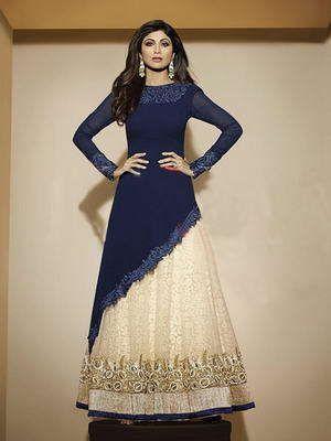 Тёмно-синее асимметричное платье из креп-жоржета, с длинными рукавами + кремовая длинная юбка в пол