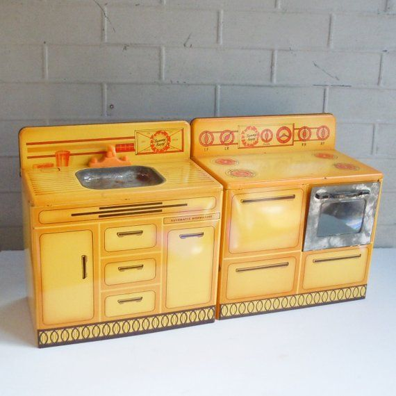 Vintage Toy Kitchen Sunny Suzy Set Stove And Sink Art Deco Child S Toy Red And Yellow And Orange Toy Kitchen Vintage Toys Tin Kitchen