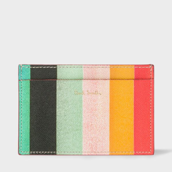 Men's 'Artist Stripe' print leather credit card holder.