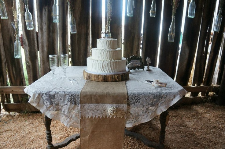 Barn Wedding Cake Table Lace Tablecloth With Burlap