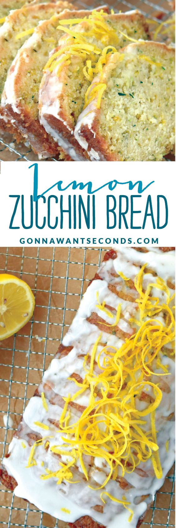 Lemon Zucchini Bread is a lovely quick bread perfectly suited for summer. This recipe is moist, tender and packed with luscious lemon flavor. Oh, and did I mention it's gloriously covered in two glazes?  That's right, not one, but  TWO glazes!
