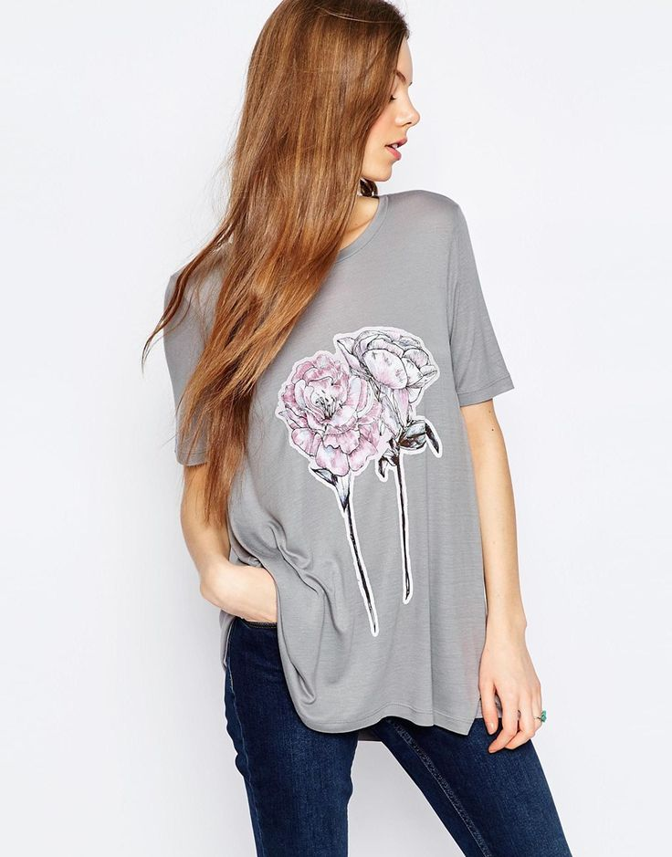 Image 1 ofASOS T-Shirt In Swing Fit With Flower Print