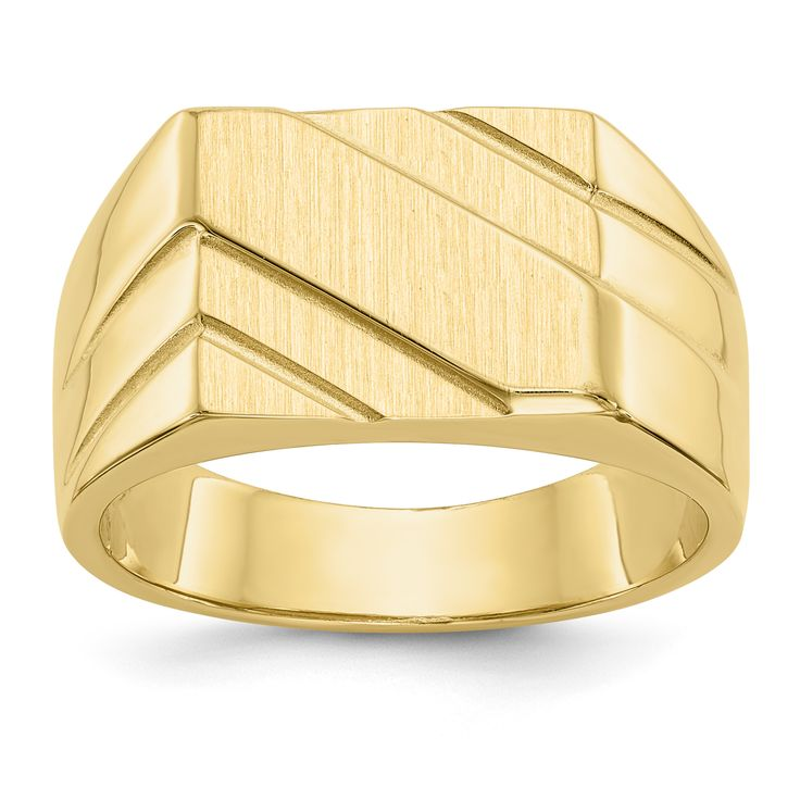 14k Polished Diagonal Mens Signet Ring D1836