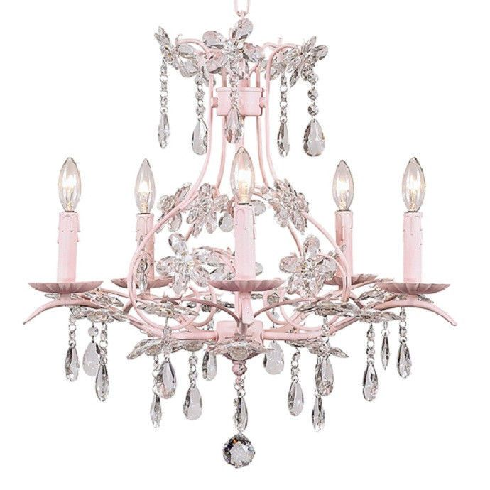 fantastic lighting chandeliers. pink chic shabby 5 arm crystal drops chandelier hanging light #unbranded #chicshabby fantastic lighting chandeliers o
