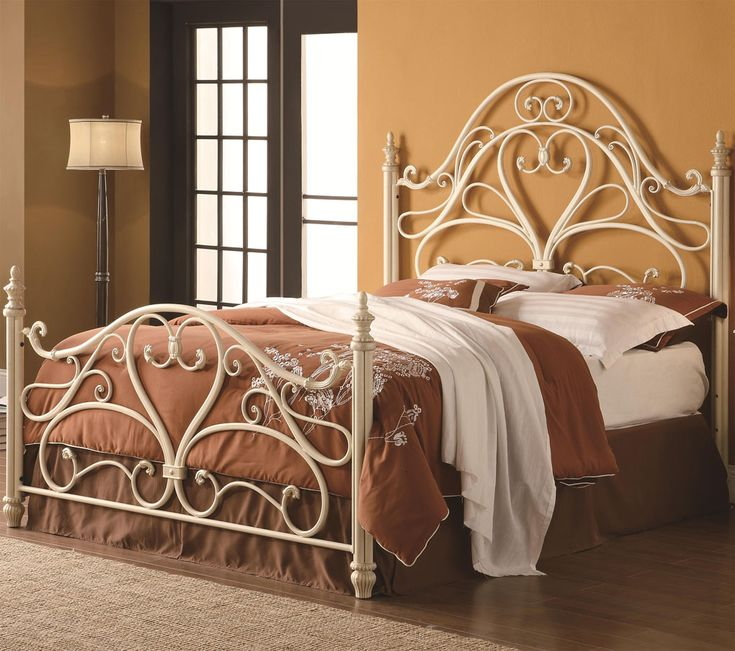 Iron Beds and Headboards Queen Ornate Metal Headboard & Footboard Bed with Egg Shell Finish