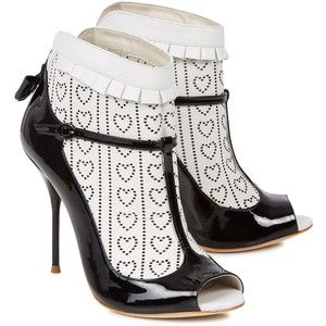 Sophia Webster Sadie monochrome laser-cut leather ankle boots