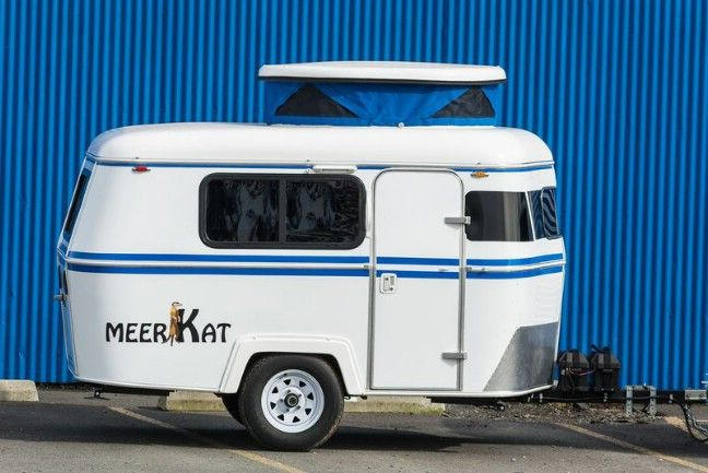 Pull This Adorable Meerkat Tiny House With Any 4 Cylinder Vehicle And Store It In Your Regular Garage Lightweight Campers Tiny Camper Vintage Camper