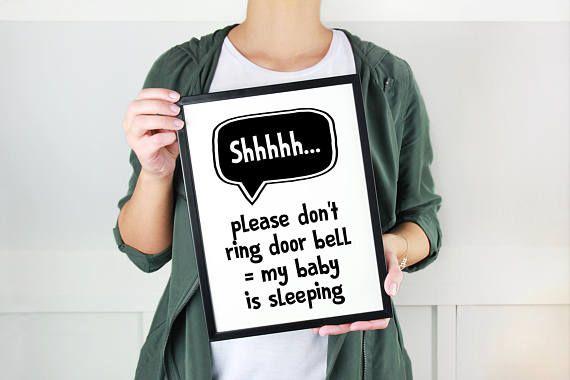 Baby Sleeping Print Don't Ring Doorbell Print Be Quiet