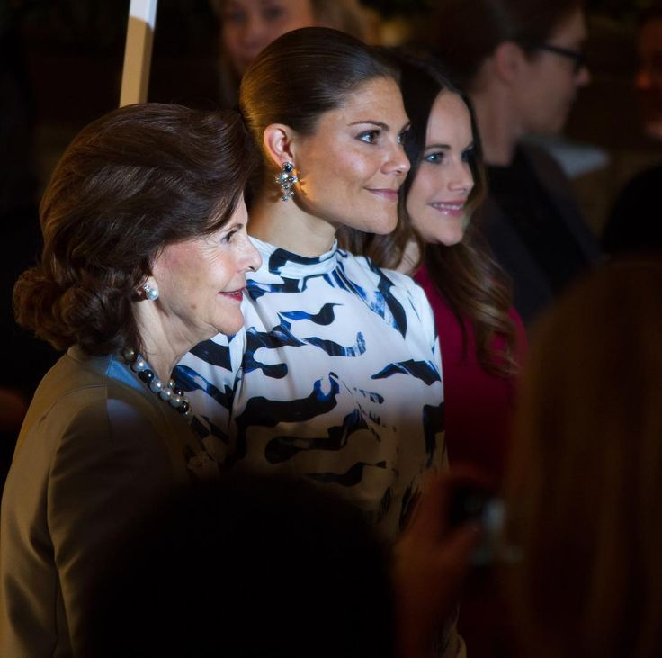 Queen Silvia of Sweden with daughter Crown Princess Victoria  and daughter-in-law Princess Sofia attended the opening an  an exhibition of their wedding dresses  Oct. 17, 2016