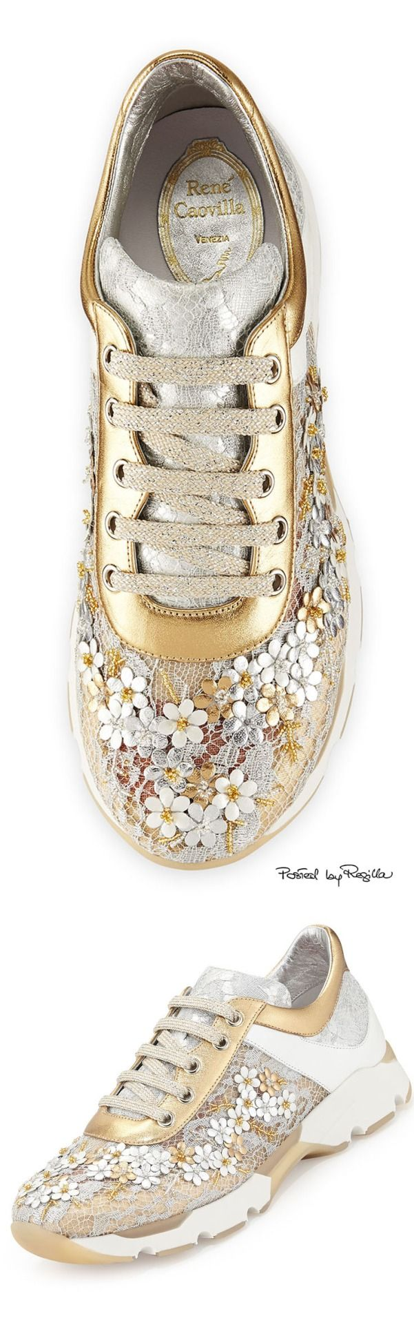 Rene Caovilla Metallic Floral Lace-Up Sneaker, Metallic/White                                                                                                                                                                                 More