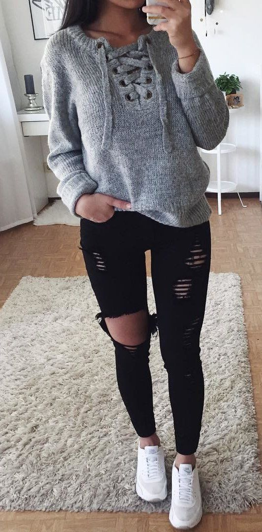 #fall #outfits women's grey pull-over sweater and distressed black denim jeans