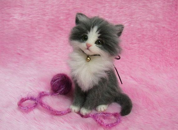 Needle Felted Gray  White Fluffy Kitten with by LilyNeedleFelting