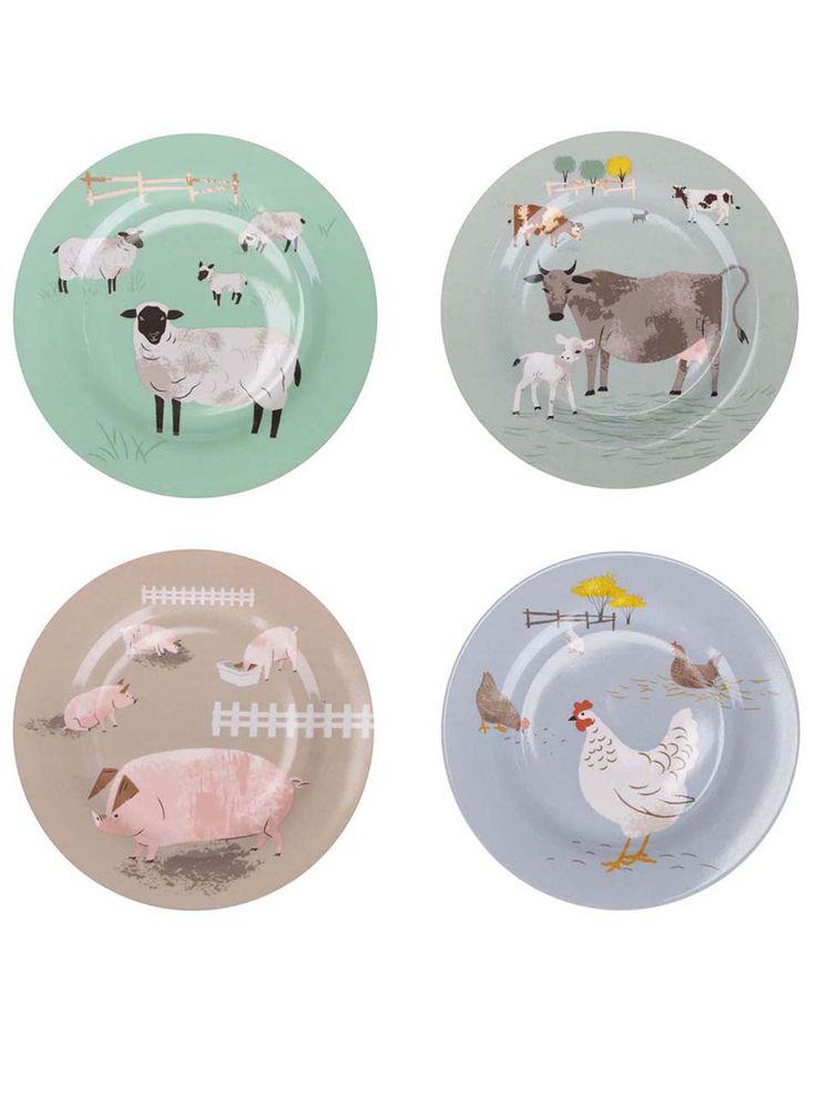 Sada 4 talířků s farmářskými zvířaty Magpie Hugletts Wood