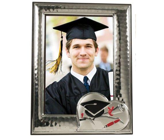 23,70 € - Portafoto laurea con cuore, realizzato in argento laminato, fantastica idea regalo per laurea, cm. 9x13.