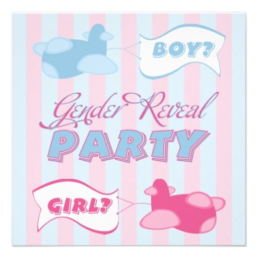 Airplanes and Banners Gender Reveal Party Personalized Invitations