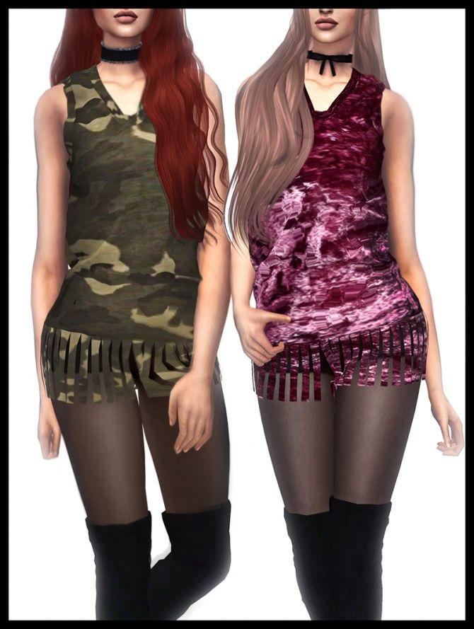 Fringe Shirt at Kenzar Sims • Sims 4 Updates