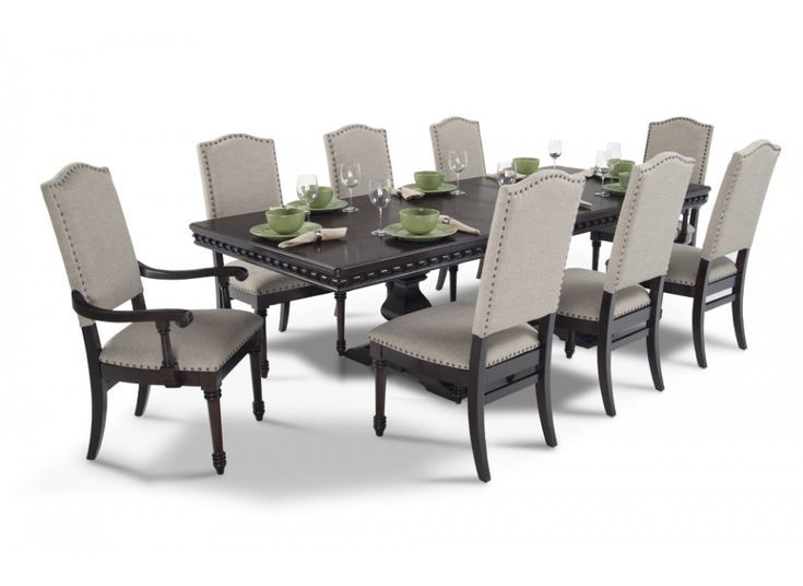 Bristol 9 piece dining set bristol room set and bobs for Dining room furniture 9 piece