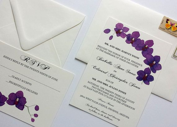 This elegant orchid wedding invitation suite was designed having Hawaii as an inspiration.  The Purple Orchid Wedding Invitation set includes: ~20