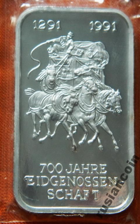 Швейцария 700 л единства карета СЕРЕБРО 999 унция