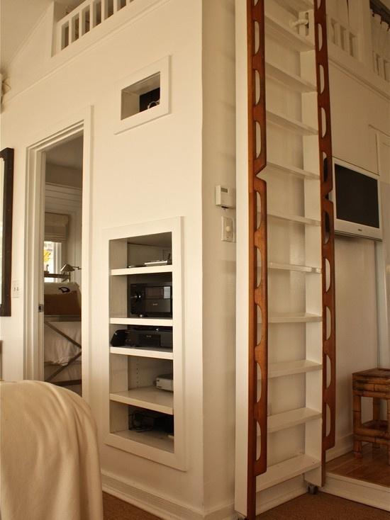 pretty attic ladder, wooden handles.