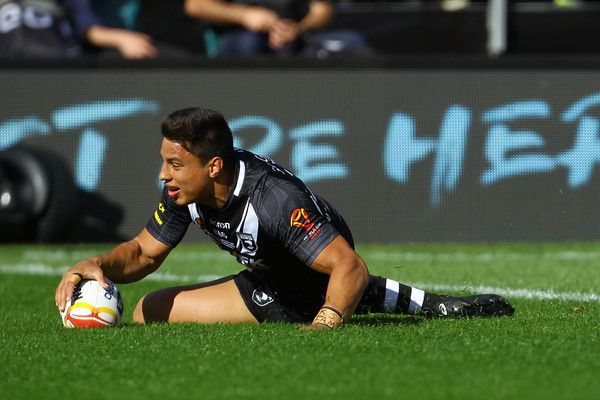 Canberra Raiders Joseph Tapine of New Zealand scores a try during the 2017 Rugby League World Cup match between the New Zealand Kiwis and Scotland at AMI Stadium on November 4, 2017 in Christchurch, New Zealand.