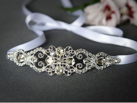 LYDIA - Stunning Wedding Headband, Vintage Style Rhinestone Ribbon Bridal Headband, Wedding Bridal Hair Accessory in White, Ivory or Silver