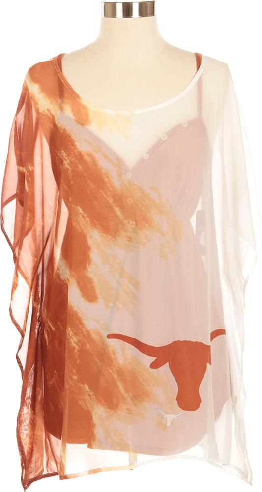 Upgrade your spirit with the lightweight Texas Longhorns sheer watercolor tunic. With the perfect blending of Burnt Orange & White, it's great for Game Day!