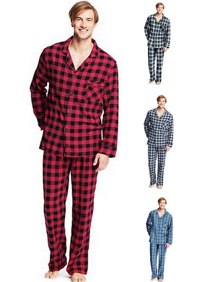 Hanes Men's Flannel Pajama Set Plaid PJs Size S - 2XL Style 0140 #Hanes #PajamaSets