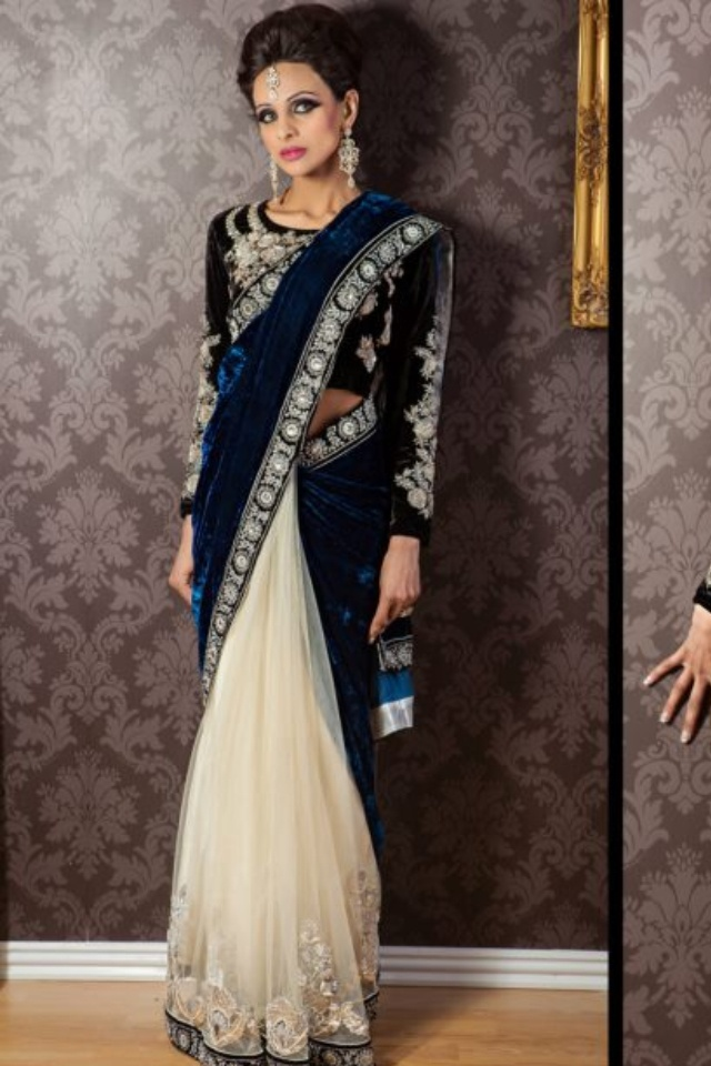Blue net& Velvet saree
