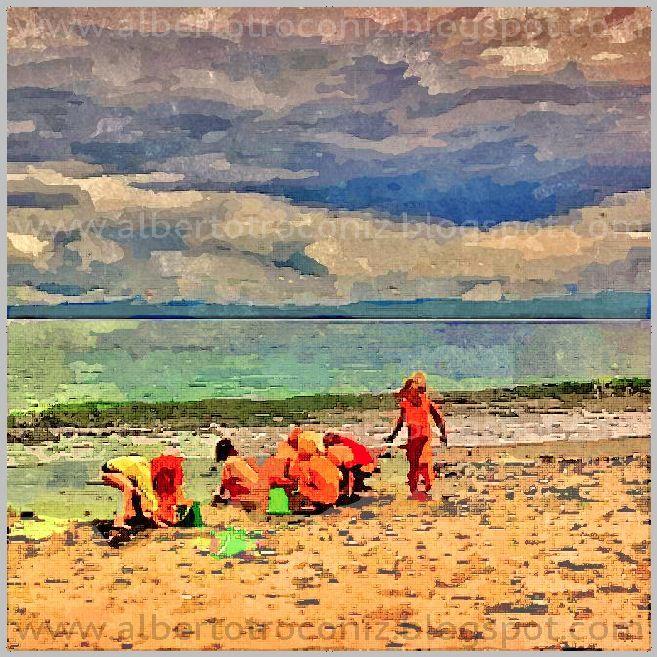 EN LAS PLAYAS DEL MUNDO //…se congregan los niños,/ el agua de las olas se muestra bulliciosa,/ los cielos infinitos inmóviles arriba…/ más allá de la luna bajo nubes de oro,/ en las playas del mundo entre bailes y gritos/con arena levantan castillos en el borde /…y juegan con las conchas vacías de la orilla/ y hacen barcos con hojas y los botan riendo/ en las profundas aguas de los mares del orbe…(Ver ➦)…