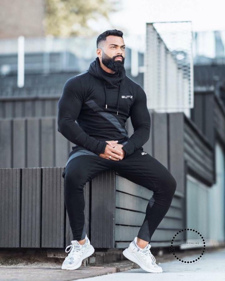 Print Men Sport Set Autumn Tracksuit Long Sleeve Hoodie Sweatshirt Fitness  Pants Workout Running 27fa0d31f0d3