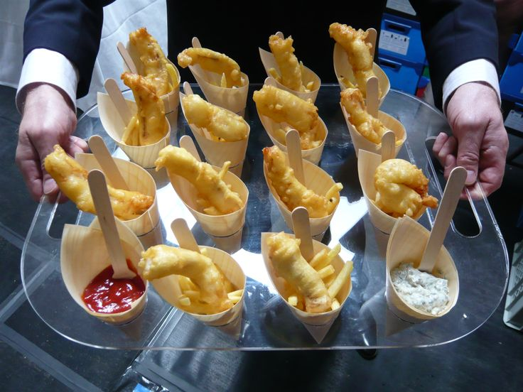 Mini Fish and Chips in natural wooden cones from foodstuff.biz