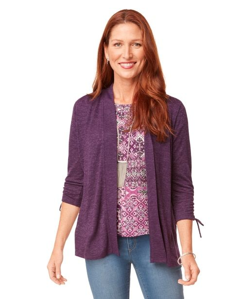 Women's Peplum Cardigan With Ruched Sleeve