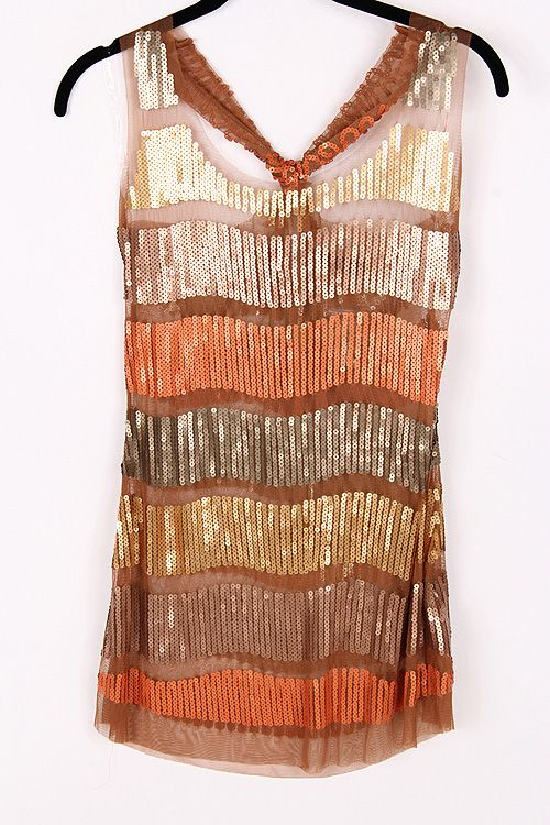 Sequined Luster Top in Warm Sunset, perfect fall shirt!