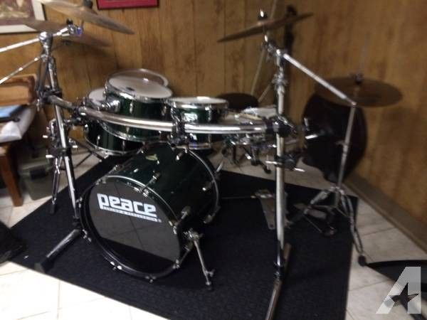 ** Peace drum set w/ rack and double pedal** - $1