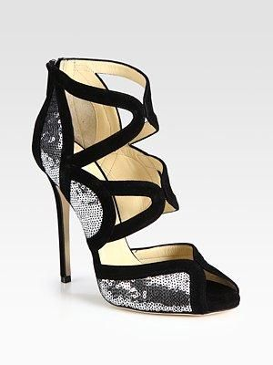 Jimmy Choo - Tempest Sequin And Suede Sandals