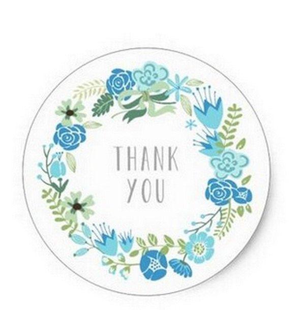 """24 Etichette Adesive - Stickers - Tonde con scritta """"Thank you"""" Con Fiori Azzurro/Avio diametro 38mm Chiudipacco - Matrimonio - Battesimo di CuciCuciCheTiPassa su Etsy"""