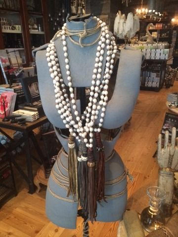 Fresh water pearls and leather tassel!