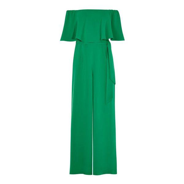 naima bardot jumpsuit ❤ liked on Polyvore featuring jumpsuits, green jumpsuit, draped jumpsuit, wide leg jumpsuits and jump suit