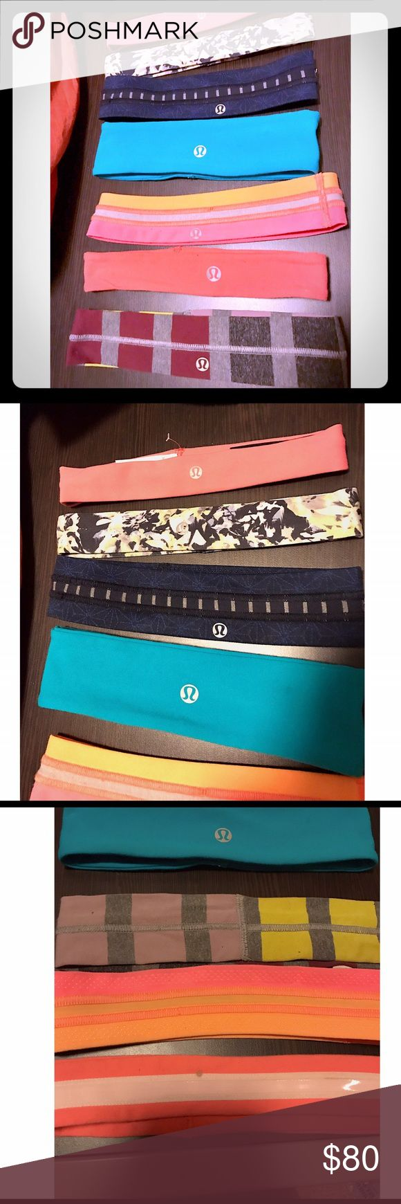 Lululemon Headbands Currently all are available, will put red line through once sold. Top 3 NEVER WORN! Please let me know which you are interested in purchasing & I will make separate post. Thin are $14; Thick are $18 because they are rare and no longer being made in this style. ***CLEARANCE: •$12 -Bottom Thin Pink (small stain on inside) -Thick Light Blue (small stain, washable) •$14 -Red/Gray Striped (a little stretched out)*** PRICES ARE FIRM & cheaper on Mèrc:) lululemon athletica…