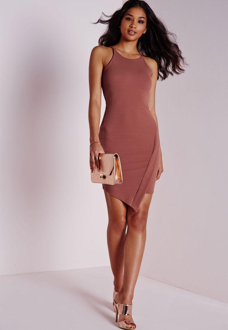 Crepe Asymmetric Hem Bodycon Dress Pink - Dresses - Bodycon Dresses - Missguided