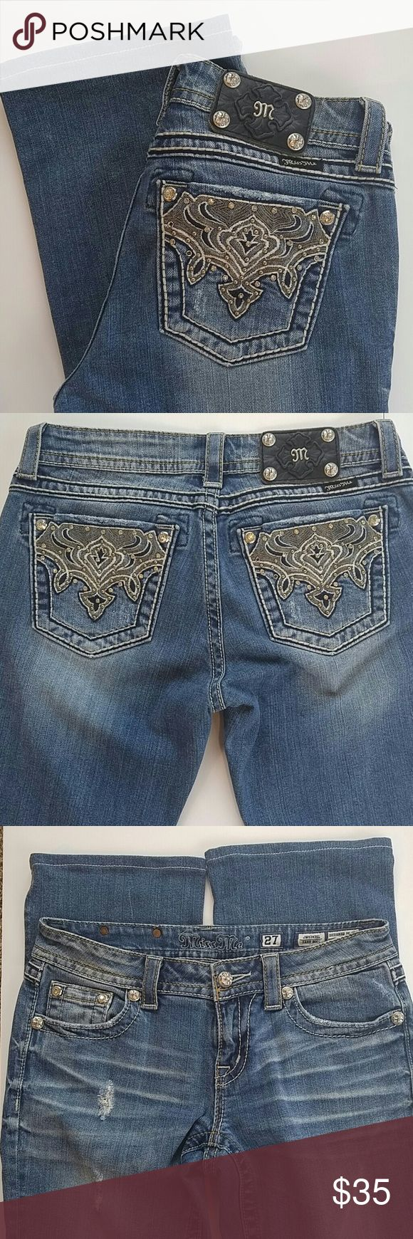 "Miss Me Easy Boot Women's Jeans Size 27.  Waist laying flat is approximately 16"". Hems have been professionally altered to an inseam of 30"".  Distressed areas include hole in left knee - see pics. Miss Me Jeans"